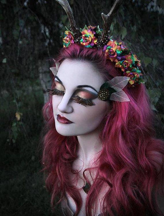 Rainbow cosplay maenad satyr faun rose antlers horns long headdress head piece