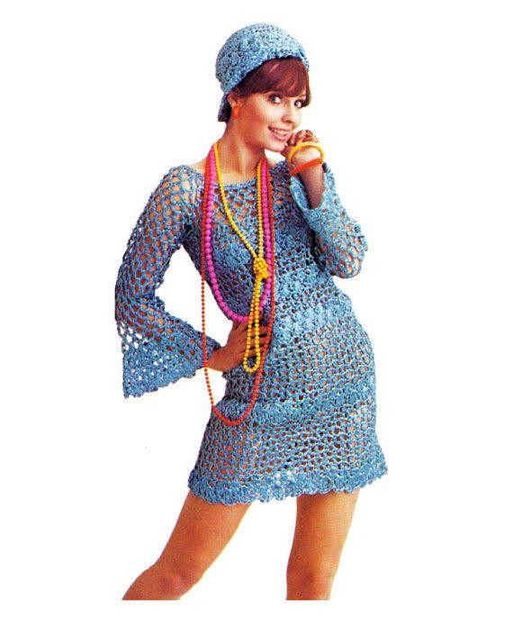 Vintage 1970s Crocheted  Boho Mini  Dress & Matching Hat. Vintage pattern.