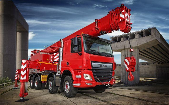 Download wallpapers DAF CF, 2017, Euro6, truck crane, special trucks, 8x4, DAF CF 440 FAD, DAF