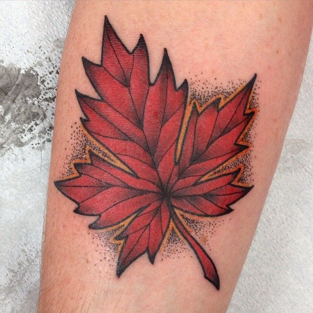 Made a maple leaf for a Canadian Aussie! Thanks spencer had fun making this! #mapleleaftattoo #mapleleaf #tattoo #tattoos #adrenalinevancity #straya #canada #eh #vancouver #vancity #604 #dots #fuckineh #brightandbold