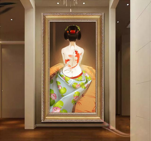 papier peint personnalis style japonais jeune fille japonais papier peint japonais. Black Bedroom Furniture Sets. Home Design Ideas