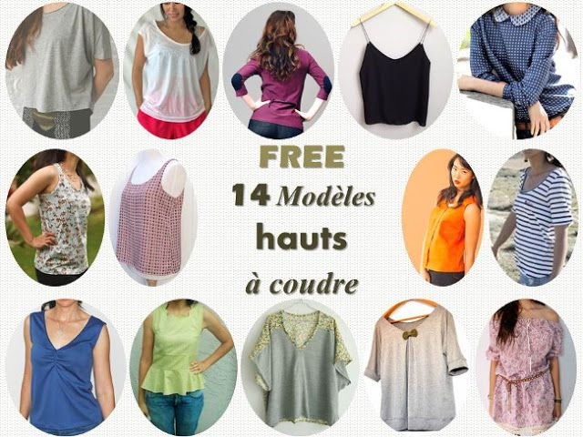 FREE: 14 Patrons couture de hauts pour femme Bettinael.Passion.Couture.Made in france
