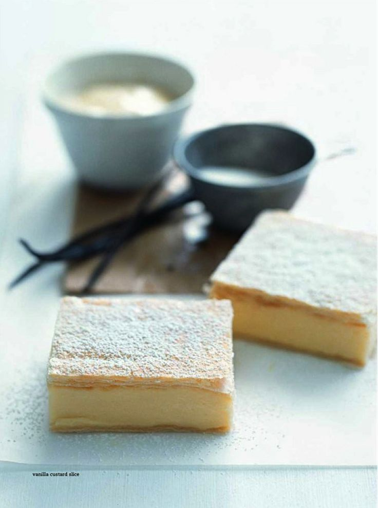 Vanilla Custard Slices - Yum...and you could caramelize some sugar on top like Creme Brulee'