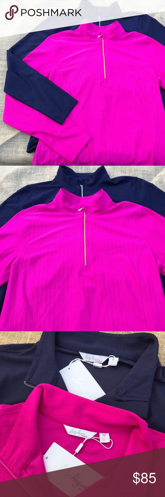 2 Lady Hagen essentials quart zipper long sleeve Bundle Set of 2 Lady Hagen quarter zip long sleeve shirt. Colors are pink berry, navy eclipse. Has UV protection along with hydrodri fabric keeps you cool and dry by moving sweat away from your skin. I personally use these for working out and they are beyond amazing in wicking away moisture. Retail $50 each. Lady Hagen Tops Tees - Long Sleeve