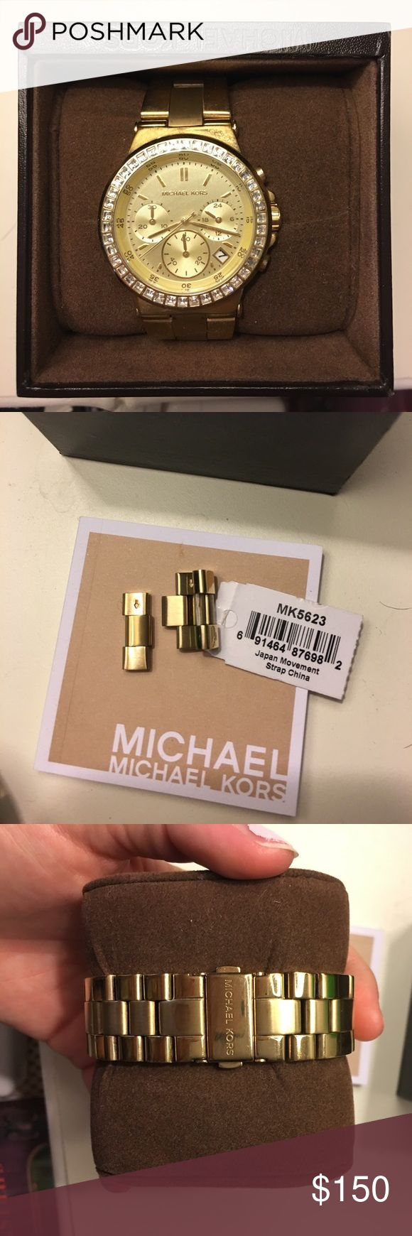 Gold Michael Kors Watch Selling Gold Michael Kors Watch! In great condition. Comes with extra links and original box/instruction pamphlet. The Watch needs a new battery*** but other than that, it's like brand new. Accessories Watches
