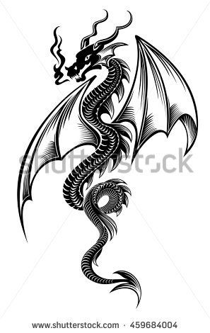 Black azure tribal dragon tattoo vector illustration