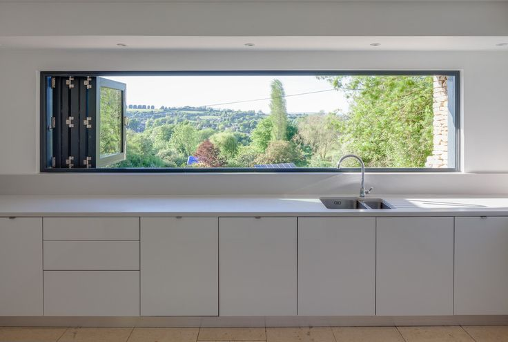 Blinds for Skylight Windows Contemporary Kitchen with Worktop - k chenzeile l form
