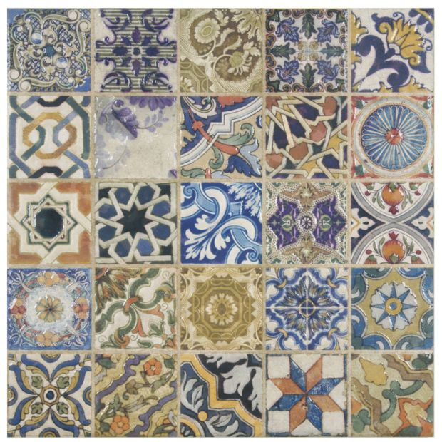 The Avila Arenal Decor is our product of the week; it's available through the Home Depot.  It has the look of a funky patterned mosaic on a ceramic square tile! It's fun, versatile, and colorful.
