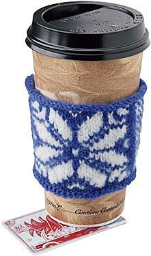 DIY cup cozy. Free downloadable pattern for cozy (and coaster). This would make such a great gift - pretty basket or bag filled with a mug, homemade cozy, coffee or tea, maybe throw in some honey, add a scone or muffin...