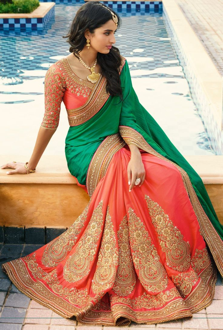Green And Orange Embroidered Designer Party Wear Saree