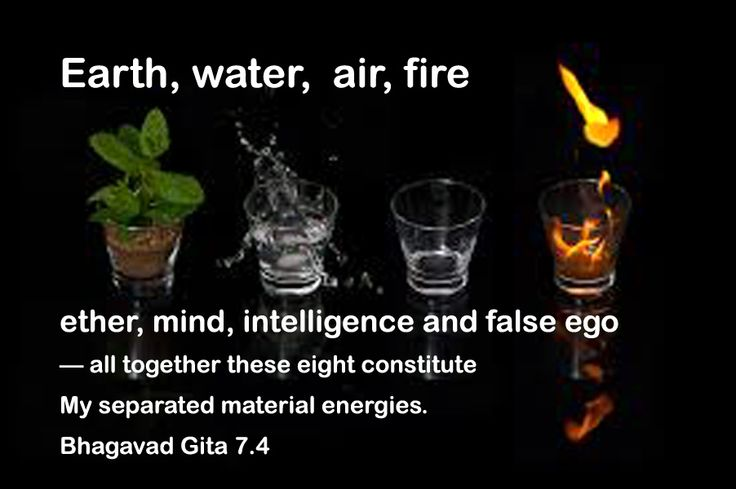 Earth,water,air,fire,ether,mind,intelligence and false ego- all together these eight constitute my separated material energies. Bhagavad gita 7.4