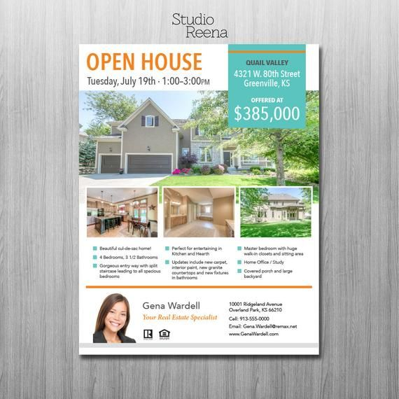 Real Estate Flyer Template 2 Sided Adobe Indesign Apple Etsy Real Estate Flyers Real Estate Flyer Template Real Estate