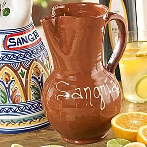 This simple, yet beautiful, pitcher for serving sangria, wine or juice was handpainted with a lead free, food safe glaze. LaTienda offers the best of Spain shipped direct to your home - fine foods, wine, ceramics and more. Free catalog.