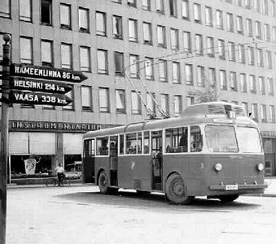 Valmet (JB)/BTH trolleybus no. 3 in Tampere, Finland