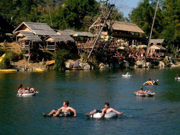 River tubing in Vang Vieng, Laos