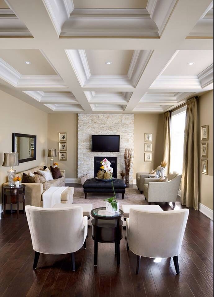 Living Room - white coffered ceiling