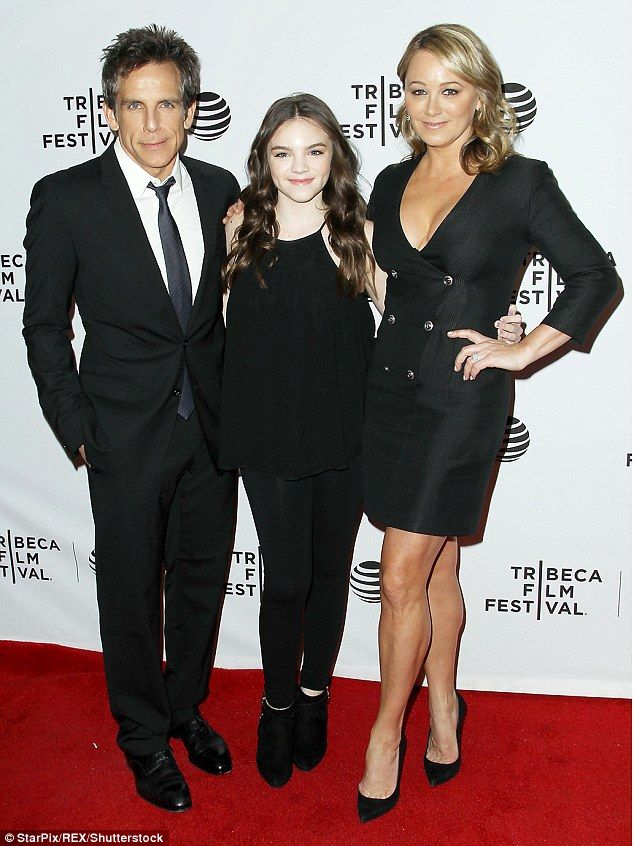 Family occasion: Ben Stiller got all dressed up with wife Christine Taylor for the premiere of Little Boxes on Friday