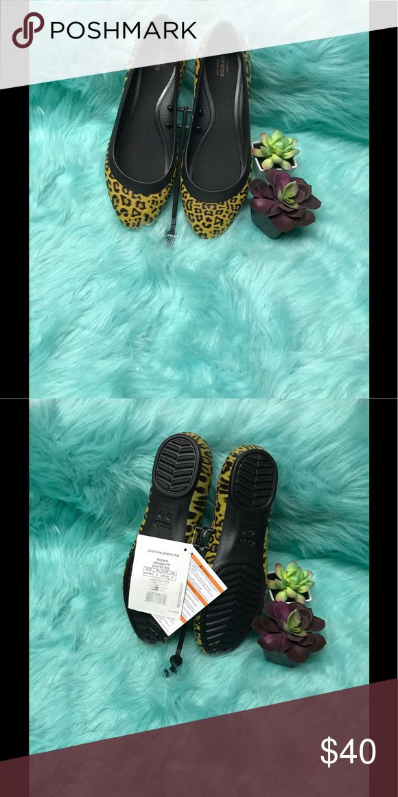 Crocs Lina Graphic Ballerina Flats Women's Ballerina flats with animal print Black & yellow. CROCS Shoes Flats & Loafers