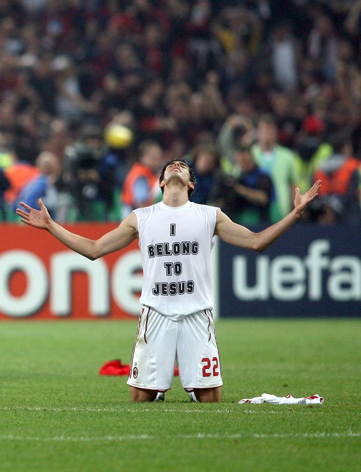 AC Milans Kaka celebrates at the final whistle after winning the Champions League against Liverpool in 2007. Jesus, this ones going out to you.