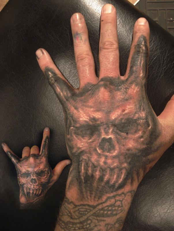 Tattoo - Skull Hand With Horns... | look onto tattoos ...