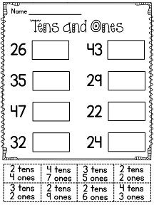 Printables Tens And Ones Worksheets 1000 ideas about tens and ones on pinterest place value cut paste activity