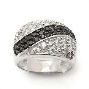Morika Jewellery-Black and White Cubic Zircon Cluster #Ring in #SterlingSilver