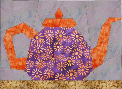 Tea-Pot-This is paper-pieced, but there are several pages of free downloadable PDF patterns on this site/many traditional blocks