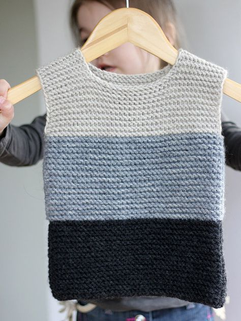 Hand Knitted Baby Girl Vest Gray Black Wool by CrochetKidsStyle