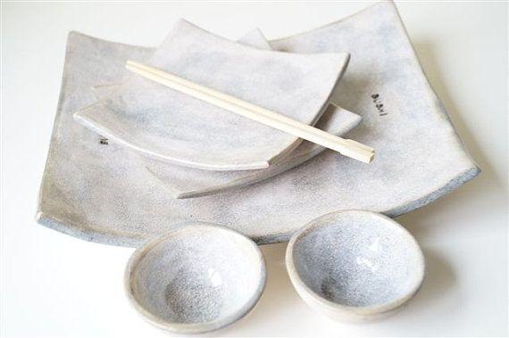 Sushi che serve piatti, pezzo cinque Set per due, Sushi in ceramica Set, piatto di Sushi, stoviglie in ceramica di servizio, che serve Sushi, piatto Sushi on Etsy, 45,32€