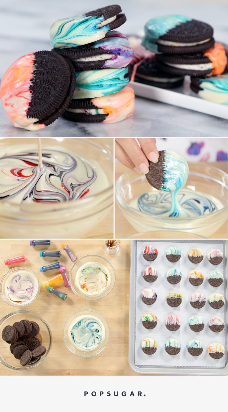 All you need is melted white chocolate, food dye, and Oreos to create this colorful dessert.