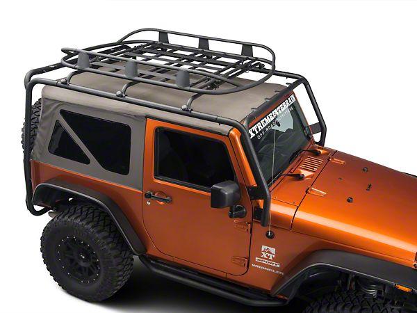 Barricade Wrangler Roof Rack Basket   Textured Black J100175 (87 15  Wrangler YJ,