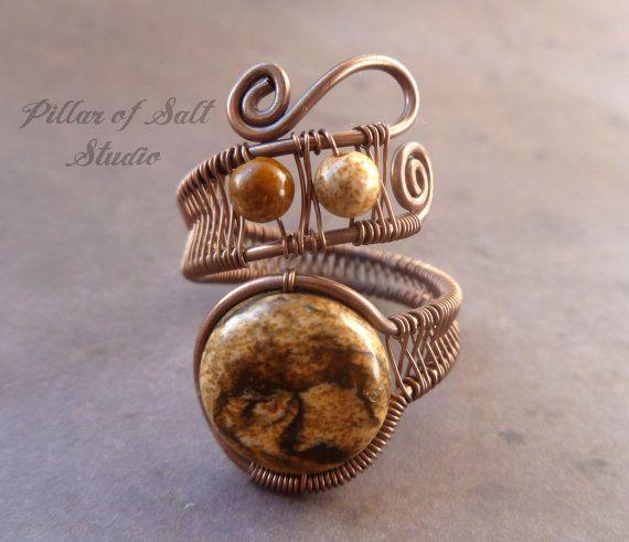 Wire wrapped ring / boho jewelry / earthy by PillarOfSaltStudio, $23.00