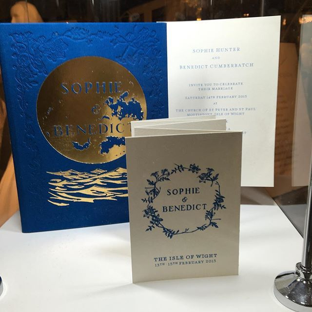 "Sophie Hunter and Benedict Cumberbatch's wedding stationary by Ruth Kaye Design on display at Quintessentially Weddings Atelier, The Dorchester, 1-2 April 2016 """"The whole set is exceptionally elegant..."