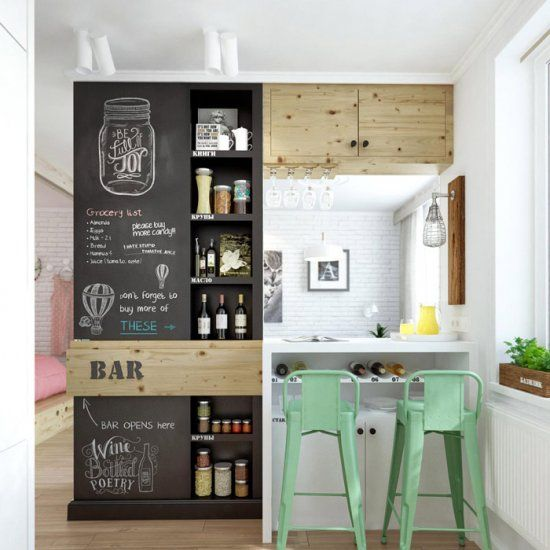 Interesting Use Of Small Kitchen Space. Chalkboard Wall + Mint Barstools //  My Future Kitchen.