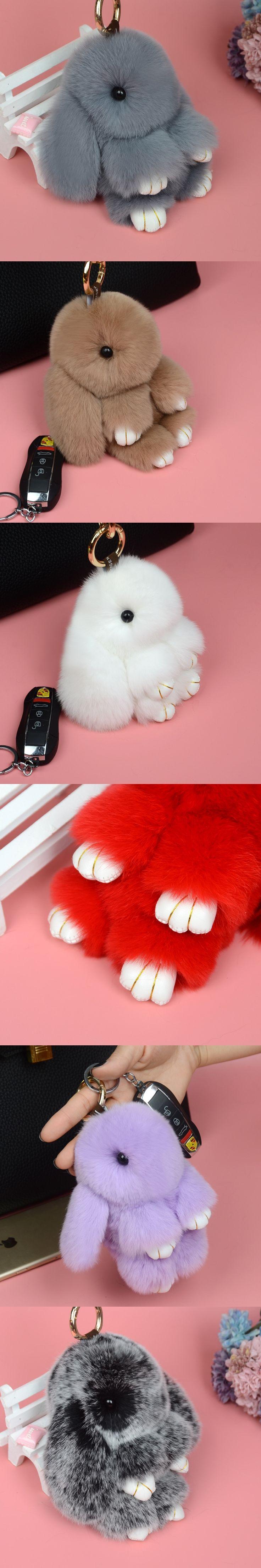 13cm  Fluffy Bunny Handmade Real Rabbit Fur Pompom Bag Charm Keychain Key Chain Ring Pom pom Keyring Holder Sleutelhanger