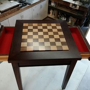 Custom Exotic Wood Chess Table With Drawers by Kenny Lipowski
