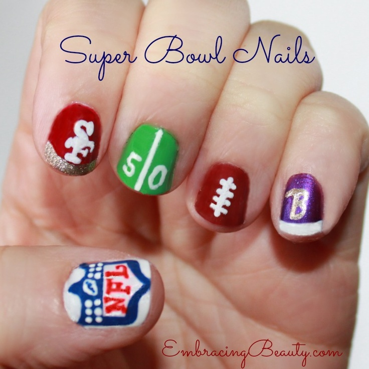 106 best Sports Nail Designs images on Pinterest   Football nail art ...