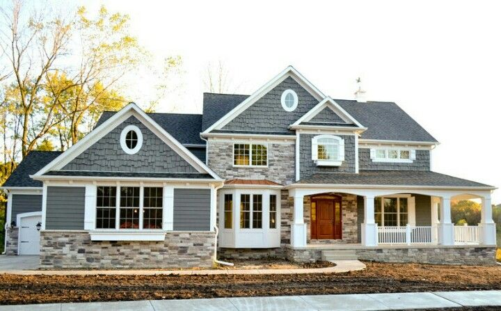 House exterior- this is similar to what I want to do to my house! - Greys and stacked stone!