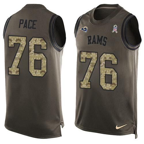 Nike Rams #76 Orlando Pace Green Men's Stitched NFL Limited Salute To Service Tank Top Jersey