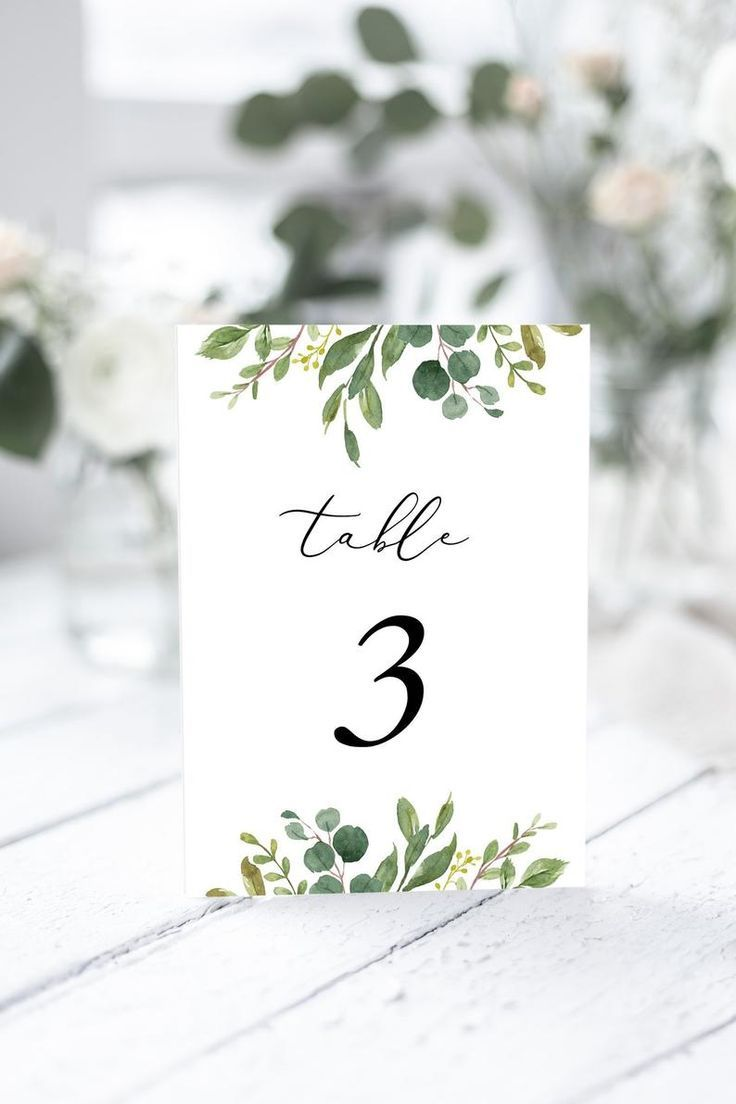Wedding Table Number Template Greenery Wedding Table Card Printable Instant Downlaod Templett 100 Editable Wedding Table Numbers Template Wedding Table Numbers Printable Card Table Wedding