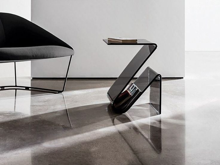 Glass Coffee Table With Integrated Magazine Rack ZETA   SOVET ITALIA