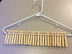 Clothespins on Hangers to practice alphabetical order (leave out some letters? write words on clothes pins? etc.). Lots could be done with this idea