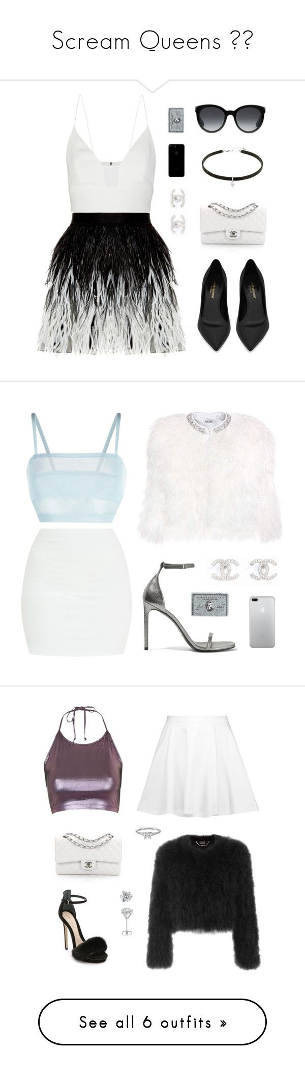 """""""Scream Queens 🎀🔪"""" by not-myself ❤ liked on Polyvore featuring Alice + Olivia, Narciso Rodriguez, Spy Optic, Chanel, Yves Saint Laurent, Carbon & Hyde, Gucci, La Perla, Miu Miu and Topshop"""