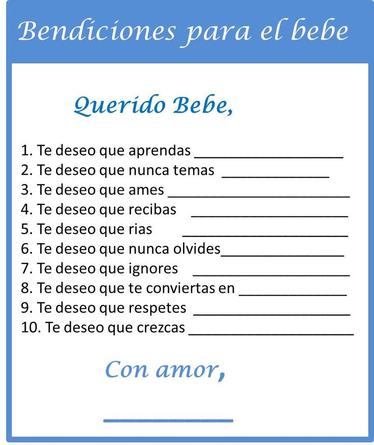 #Bendiciones #para #el #bebe. #Juegos #de #Baby #Shower #en #Espanol  #Juegos #Imprimibles #Gratis de Baby Shower. Free Printable Wishes for Baby Boy.