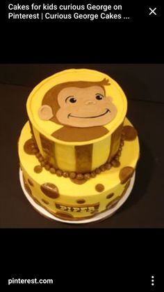 Curious George birthday cake maybe with red and blue instead of brown?