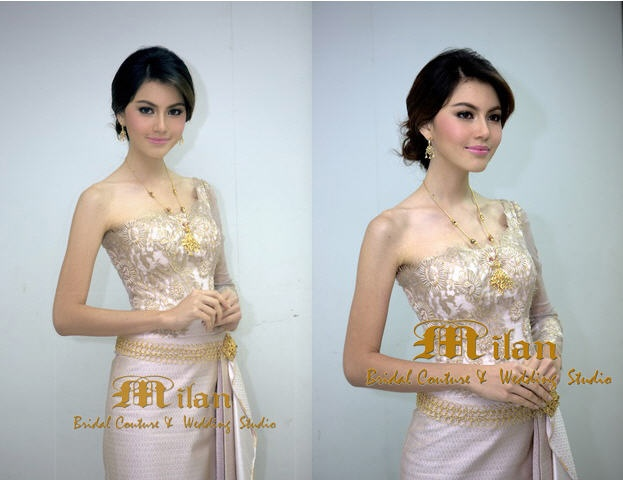 Gorgeous Milan Bridal in Thailand Gold Traditional Thai Wedding Dress