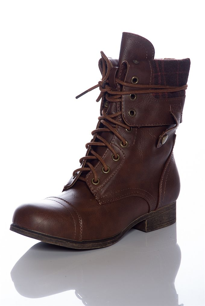 Style Unfolds Red Zipper Fold Down Combat Boots Chestnut