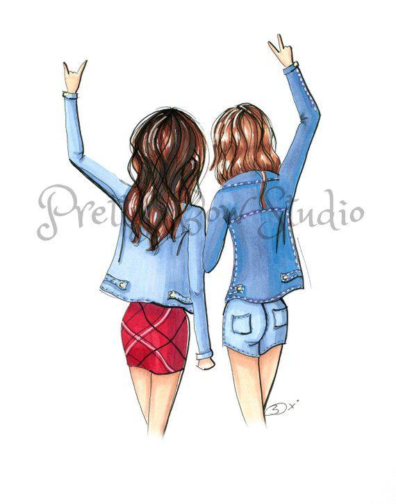 Cute Friend Drawings : friend, drawings, Friends, Fashion, Illustration, Print, Drawings, Friends,, Cartoon,