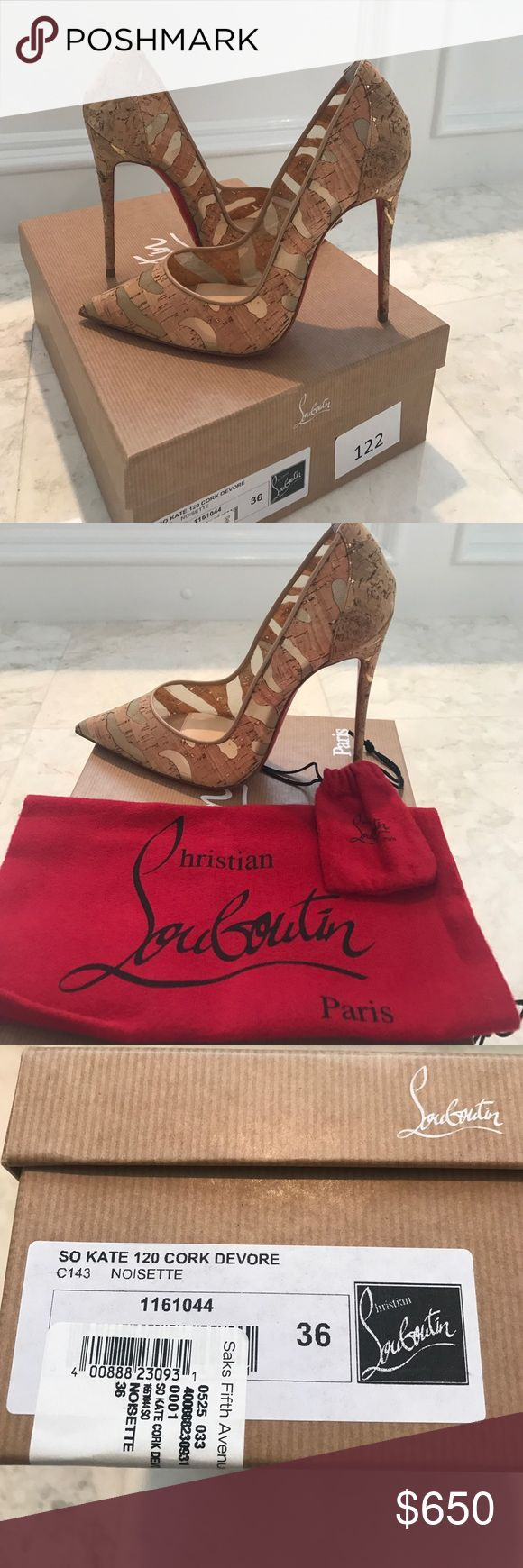 Christian Louboutin So Kate 120 Cork Devore Brand new in box with dust bag and extra heel taps. Cork and mesh. Beautiful neutral shoes! Christian Louboutin Shoes Heels