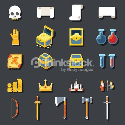 RPG Game Accessories Icons Set Scrolls Treasure Chests Potions Weapons Flat design Icon Template Vector Illustration